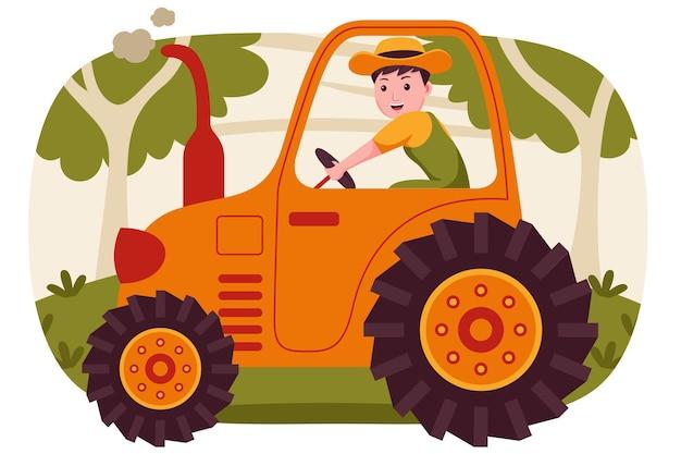 Glücklicher mann bauer, der traktor am garten fährt.