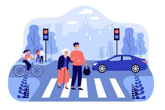 Glücklicher mann, der alte frau hilft, stadtstraße zu überqueren