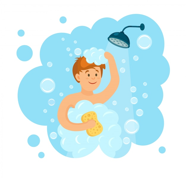 Glücklicher mann, der dusche im badezimmer nimmt. kopf und haare mit shampoo, seife, schwamm, wasser und schaum waschen. lächeln charakter auf hintergrund. karikatur