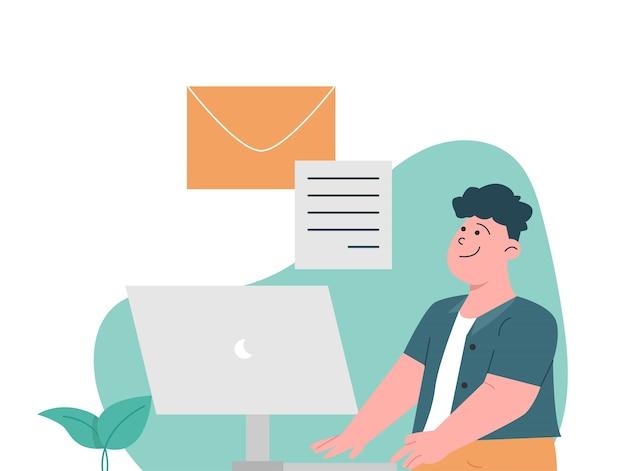 Glücklicher mann, der e-mail an kunden schreibt