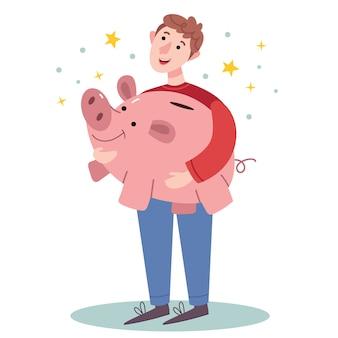 Glücklicher mann, der ein großes sparschwein hält. erfolgreiches wirtschaftlichkeitskonzept. einfache illustration.