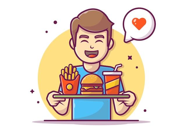 Glücklicher mann, der ein tablett hamburger mit pommes frites und soda hält, illustration weiß isoliert