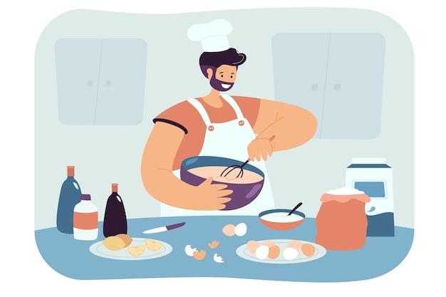 Glücklicher mann, der flache illustration des gebäcks zubereitet