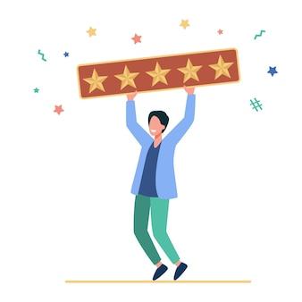 Glücklicher mann, der fünf goldene sterne hält. kunde, bewertung, flache illustration der sozialen medien