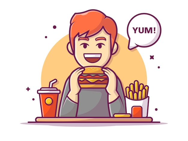 Glücklicher mann, der hamburger mit pommes frites und soda hält und isst, illustration weiß isoliert