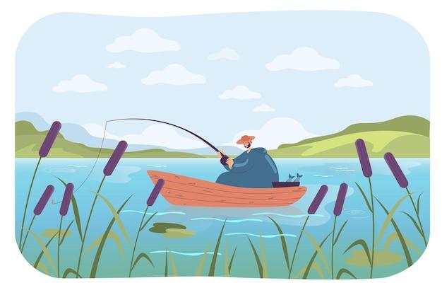 Glücklicher mann, der in der flachen illustration des bootes fischt
