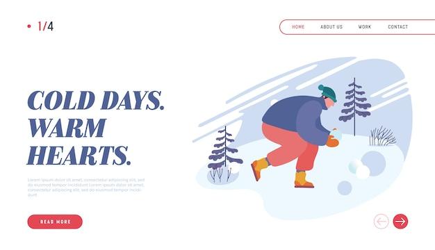 Glücklicher mann, der schneebälle spielt, die wintersaison-urlaubs-website-landingpage genießen.
