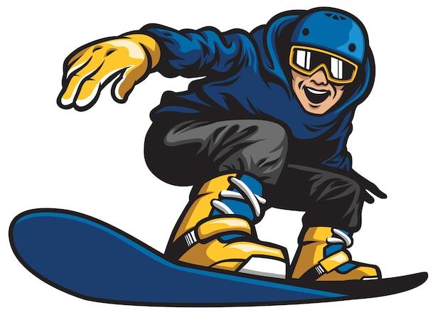 Glücklicher mann, der snowboard spielt