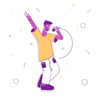 Glücklicher mann, der spaß hat, in der karaoke-bar oder im nachtclub zu singen