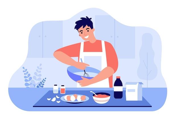 Glücklicher mann in der schürze, die bestandteile in der flachen illustration der schüssel mischt. karikaturmann, der teig vorbereitet oder nachtisch am küchentisch kocht. hausgemachtes gebäck- und backkonzept