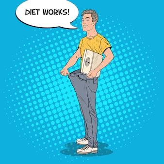 Glücklicher mann in übergroßen jeans