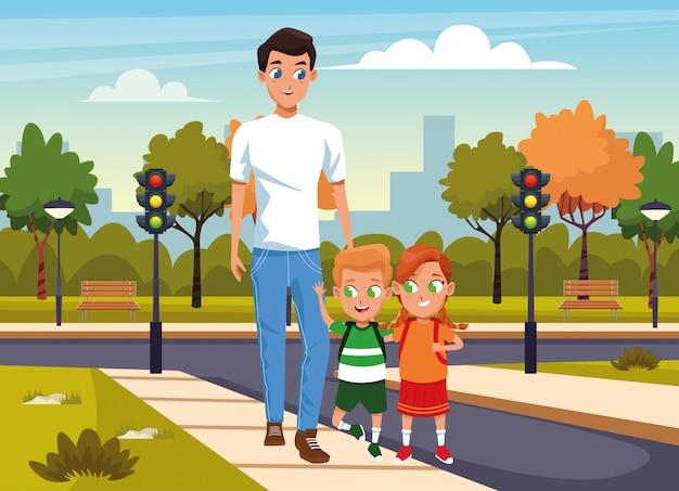 Glücklicher mann mit den kindern, die in die straße über park gehen