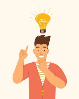 Glücklicher mann mit einer glühbirne über dem kopf. neue kreative idee, problem gelöst, kreatives denken, startup, innovation, brainstorming, gehirnaktivität, motivation, inspiration. flache vektorgrafik