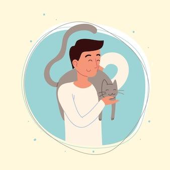 Glücklicher mann mit einer katze