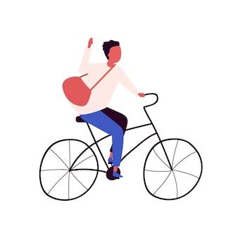 Glücklicher mann mit tasche, die flache illustration des stadtfahrradvektors reitet. positiver postbote kerl auf retro-fahrradhand gezeichnet lokalisiert auf weißem hintergrund. hübscher männlicher radfahrer der lieferung.