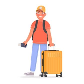 Glücklicher mann tourist mit gepäck und rucksack am flughafen. vektorillustration im cartoon-stil