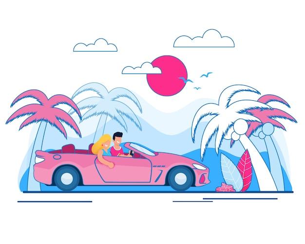 Glücklicher mann und frau der karikatur, verheiratetes paar, das auto entlang tropischem strand mit palmen und kokosnussbäumen auf landschaft fährt