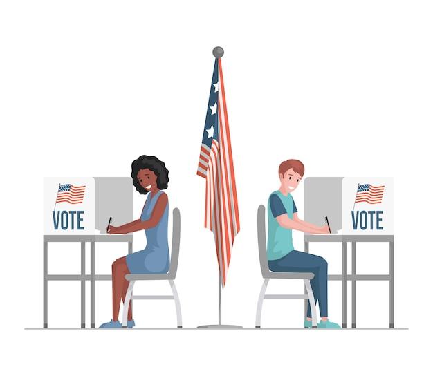 Glücklicher mann und frau, die an abstimmungsständen sitzen, stimmzettel füllen, abstimmen und kandidatenillustration auswählen.