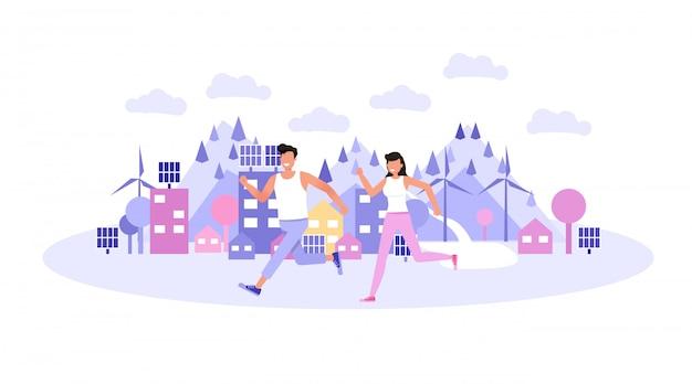 Glücklicher mann und frau, die im stadtpark joggen.