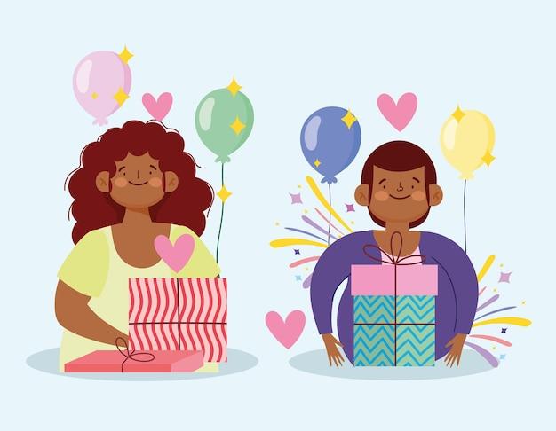 Glücklicher mann und frau mit geschenken und ballons feiern partykarikaturillustration