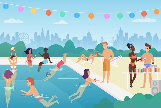 Glücklicher mann und frau schwimmen im pool, reden, spielen mit dem ball, genießen zeit, haben spaß auf der sommerparty im freibad.