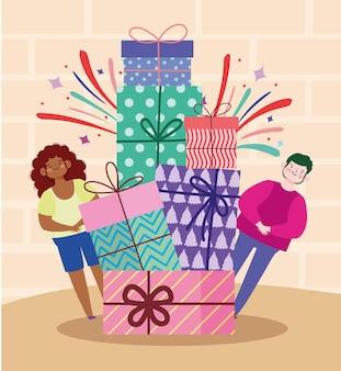 Glücklicher mann und frau stapel von geschenken feier party cartoon illustration