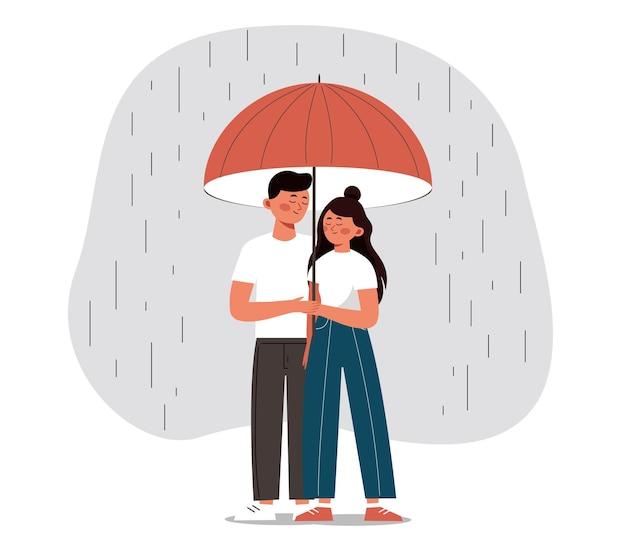 Glücklicher mann und frau verstecken sich vor dem regen unter einem offenen regenschirm junges paar umarmen sich mit liebe und sorgfalt konzept des valentinstags