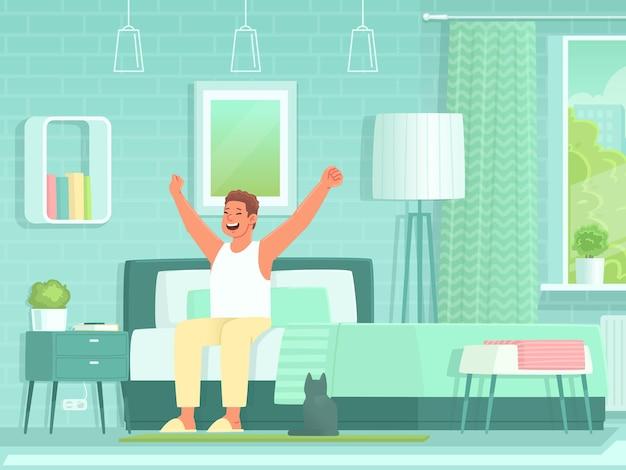 Glücklicher mann wacht morgens auf und streckt sich, während er auf dem bett im schlafzimmer sitzt. aufwachen aus dem schlaf. vektorillustration im flachen stil