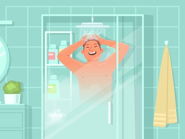 Glücklicher mann wäscht sich unter der dusche. tägliche hygienemaßnahmen. vektorillustration im flachen stil