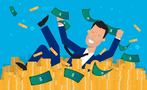 Glücklicher millionär, der im geld schwimmt