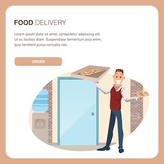 Glücklicher mitarbeiter hold carton pizza box am arbeitsplatz