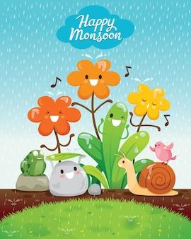 Glücklicher monsun, regenzeit, zeichentrickfigur des blumen- und tierglücks im regen