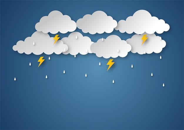 Glücklicher monsunjahreszeithintergrund. regnerischer papierkunststil.