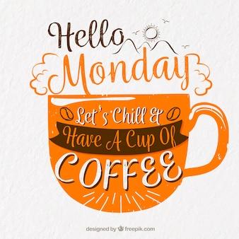 Glücklicher montag, orange buchstaben mit einer tasse kaffee