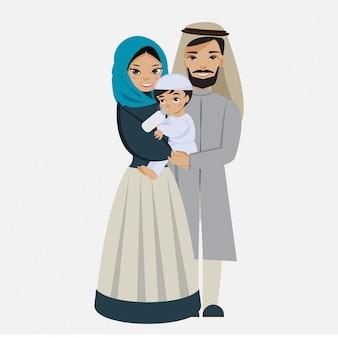 Glücklicher moslemischer familienflacher vektor lokalisiert mit hintergrund