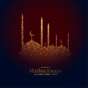 Glücklicher muharram hintergrund der eleganten glühenden moschee