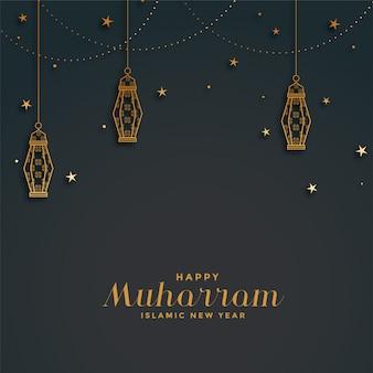 Glücklicher muharram hintergrund mit hängenden laternen