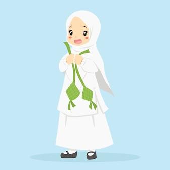 Glücklicher muslim, der ketupat hält. zeichentrickfigur der muslimischen kinder