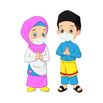 Glücklicher muslimischer kinderkarikatur, der gesichtsmaske trägt
