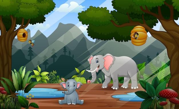 Glücklicher mutterelefant mit ihrem jungen in der dschungelillustration