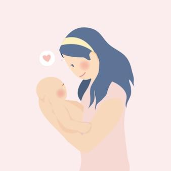 Glücklicher muttertag, mutter umarmen umarmungsbaby voller liebe mit fahne und rosa pfirsichblume hintergrund