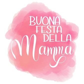 Glücklicher muttertag-schriftzug. grußkarten-design. handgezeichneter text. alles gute zum muttertag auf italienisch auf wolkenhintergrund