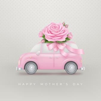 Glücklicher muttertaghintergrund mit rose auf dach des spielzeugautos