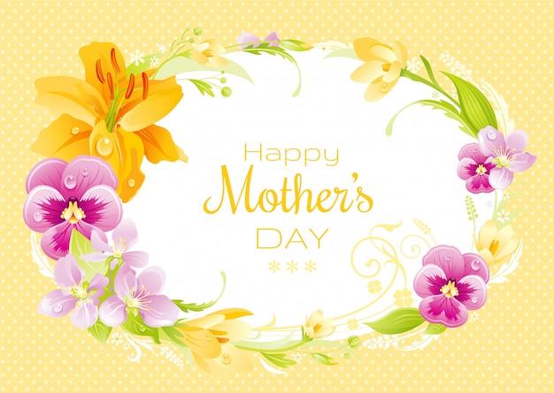 Glücklicher muttertagsgruß mit frühlingsblumenkranz und -text. lily, stiefmütterchen, sakura blüte und krokus rahmen.