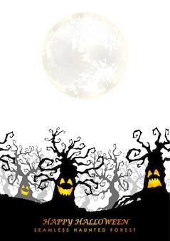 Glücklicher nahtloser spukwald des halloween mit dem mond
