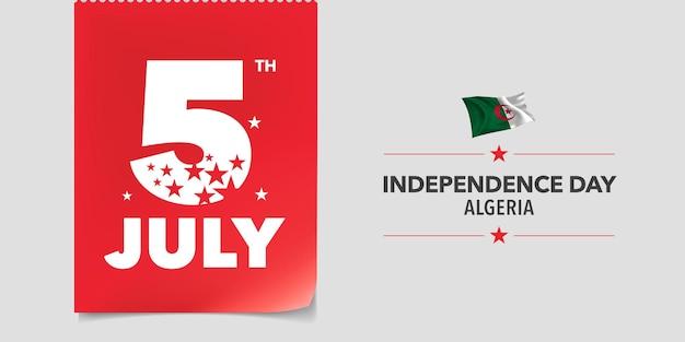 Glücklicher nationalfeiertag algeriens am 5. juli hintergrund
