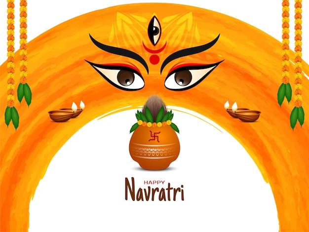 Glücklicher navratri-festivalhintergrund mit göttingesichtsdesign und kalash-vektor