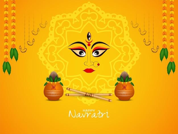Glücklicher navratri-festivalhintergrund mit kalash- und dandiya-vektor