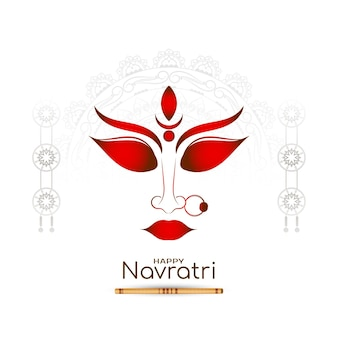 Glücklicher navratri-festivalhintergrund mit maa durga-gesichtsdesignvektor