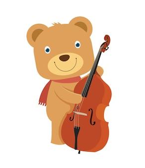 Glücklicher netter brauner teddybär, der cello spielt